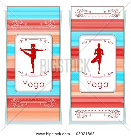 Vector Yoga Illustration. Yoga Posters With Floral Ornament And Yogi Silhouette.