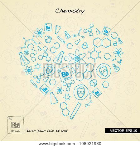 Various science icons arranged in heart shape.