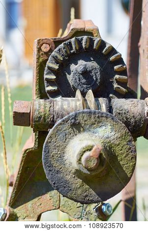 Close up view of gear from old machine