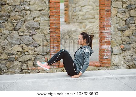 Fitness Woman Doing Crunches For Core Workout