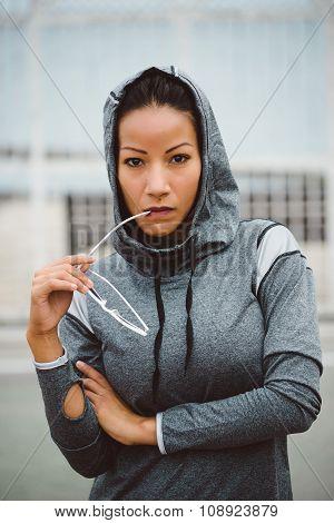 Tough Looking Urban Fitness Woman Portrait