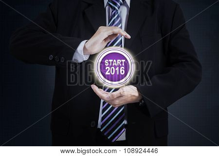 Hands Protect Start Button With Numbers 2016