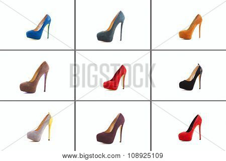 Female Shoes Collection On White Background.