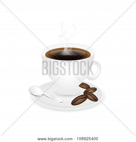 Coffee piccolo with coffee beans and spoon.
