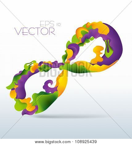 Vetor Modern Abstract Waving Fluid Infinity Sign