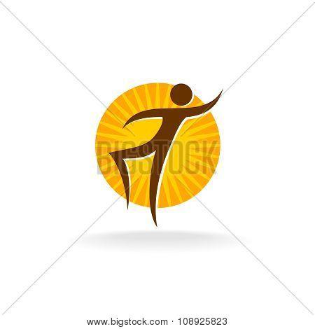 Tan Figure With Sun Behind Logo