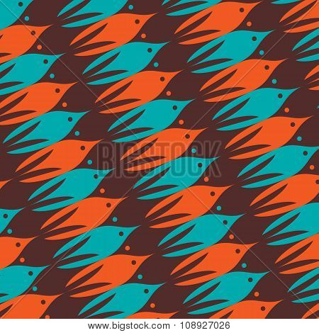 Sea Life Pattern With Brown, Orange And Blue Fishes.