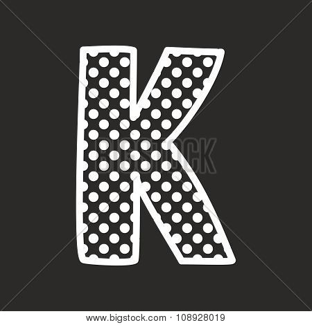 K alphabet vector letter with white polka dots on black background