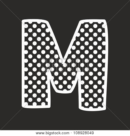 M alphabet vector letter with white polka dots on black background