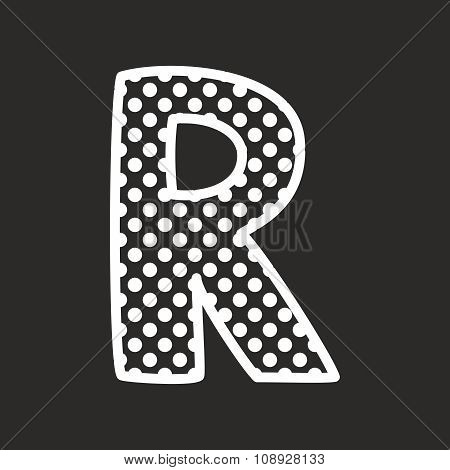 R alphabet vector letter with white polka dots on black background