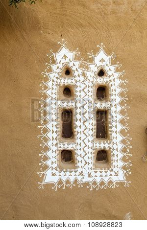 Nice Decorated Windows Of A Loam Hut