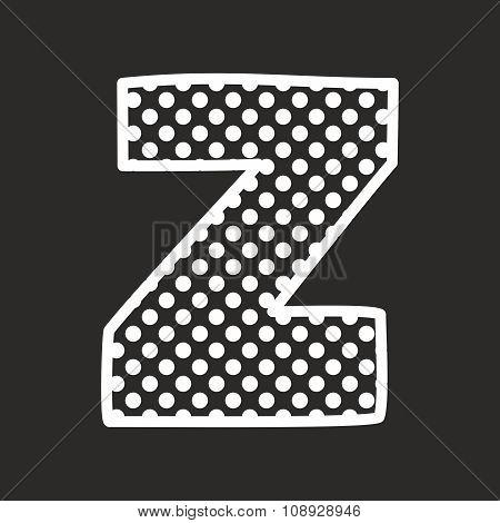 Z alphabet vector letter with white polka dots on black background