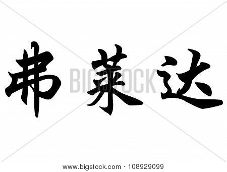 English Name Friday In Chinese Calligraphy Characters