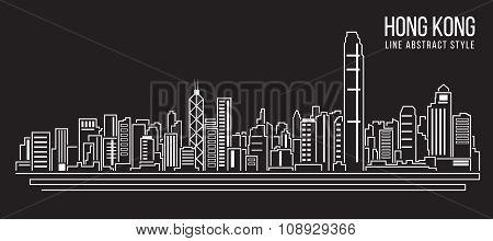 Cityscape Building Line art Vector Illustration design (Hong Kong city)