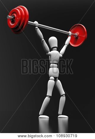Mannequin With Dumbbells On A Black Background