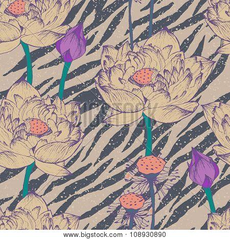 Seamless floral pattern on zebra background