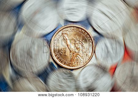 american dollar and cent coins with curl effect