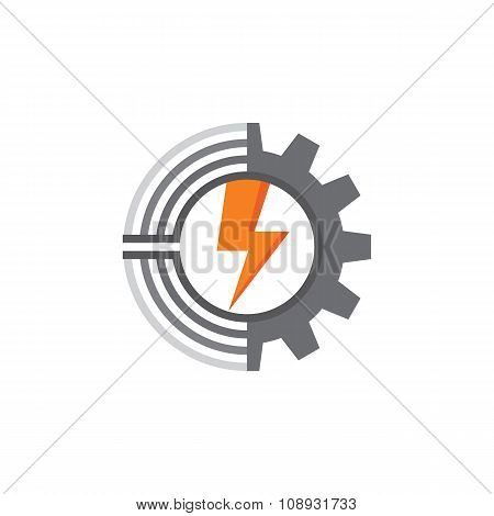 Gear, lines and lightning - vector logo concept illustration. Gear logo.