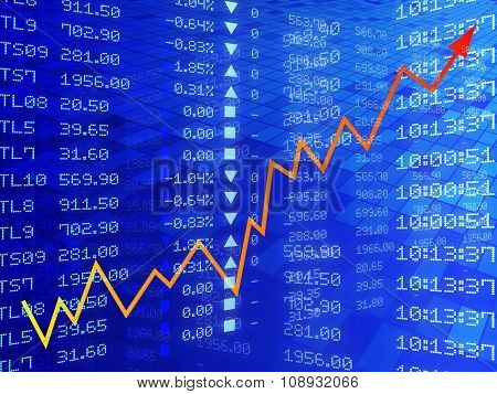 Digital Illustration Of Stock Market Graph