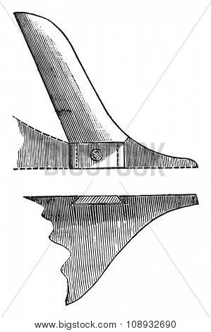 Coulter member has convex edge, seen in elevation and in horizontal section, vintage engraved illustration. Industrial encyclopedia E.-O. Lami - 1875.
