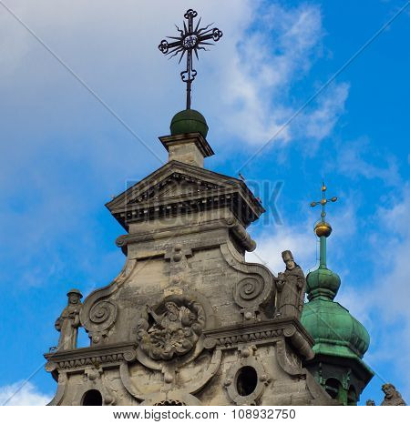 Lviv - November 15: The Main Facade  The Cathedral Of Bernardine