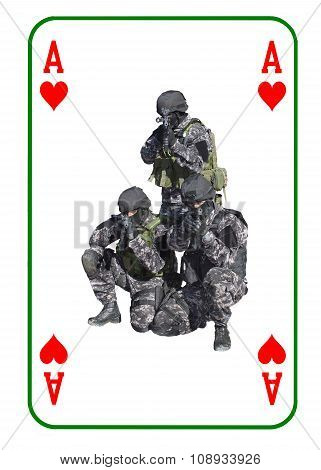 Ace of Hearts in combat. Special unit to fight terrorists.
