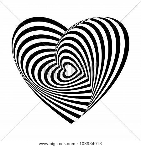 Geometric optical illusion black and white heart on a white background. Vector illustration