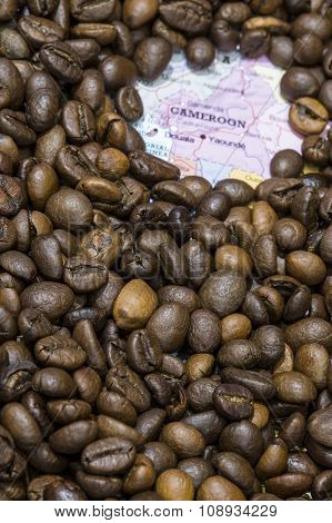Map Of Cameroon Under A Background Of Coffee Beans