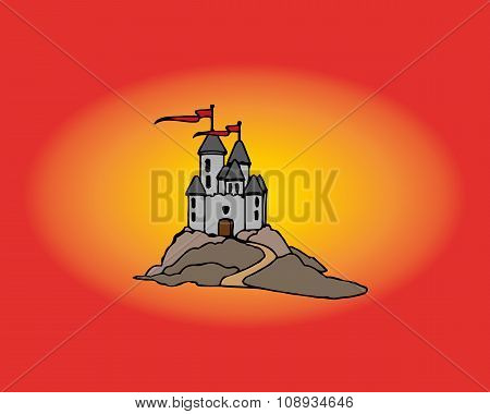 Cute Cartoon Castle. Vector Illustration With Simple Gradients.