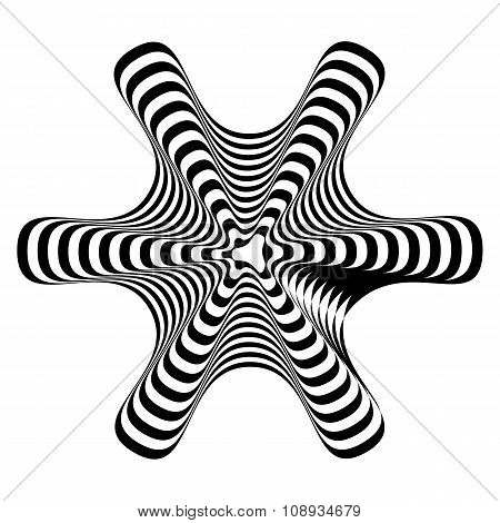 Geometric optical illusion black and white on a white background. Vector illustration