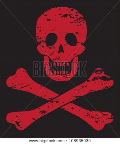 Skull And Crossbones Red On Black