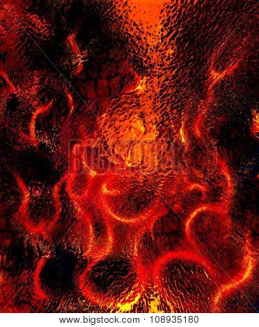 Beautiful abstract fiery on a black background and glass effect