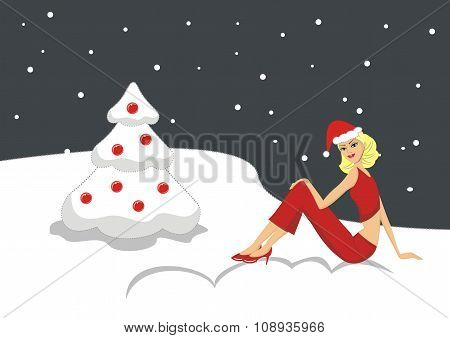 Illustration Beautiful sexy blonde girl in a red Christmas card
