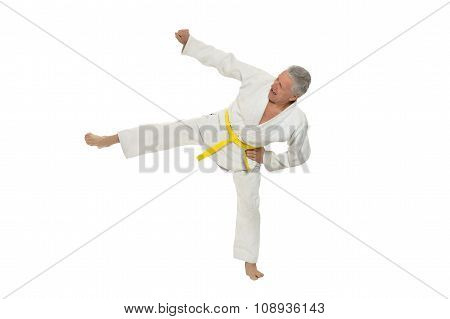 Senior man in karate pose