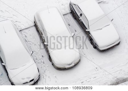 Cars Covered In Fresh Snow Fall
