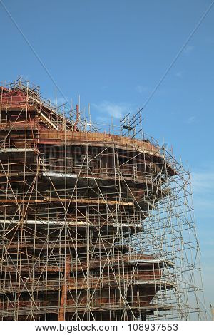 Close Up Of The Ship Under Construction With Scaffolding
