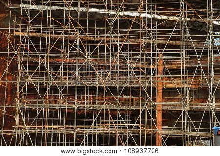 Close Up Of Ship Under Construction Scaffolding