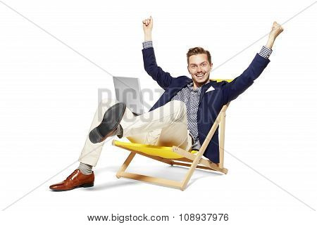 Happy  Businessman On Vacation
