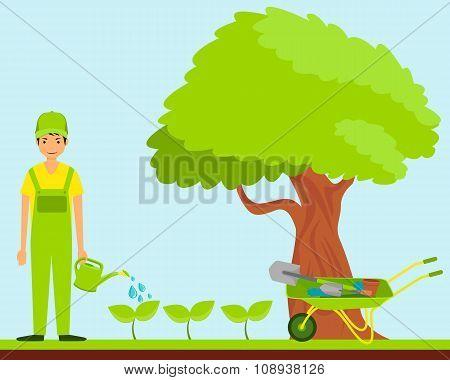 Work in the garden. Gardener watering plants. Vector illustration
