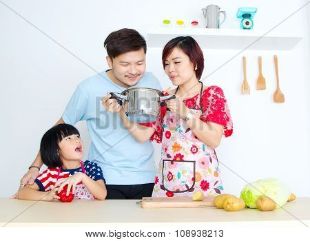Kitchen lifestyle of asian family