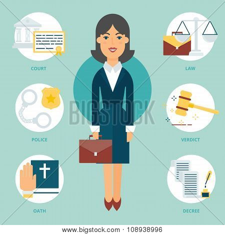 Profession: Lawyer. Vector Illustration, Flat Style