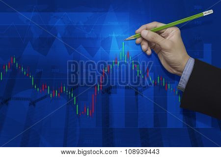 Businessman Hand Pointing Pencil To Stock Market Graph On Graph Background, Elements Of This Image F