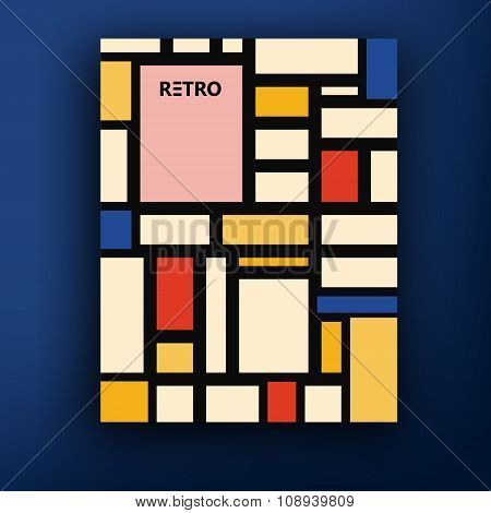 Vector Retro Bauhaus De Stijl Brochure Booklet Cover Design Templates Collection A4