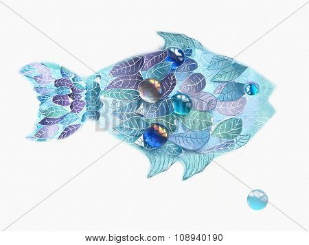 Art Blue Fish With Scales As An Leaves. Hand Drawn Illustration Isolated On White Background. Floral