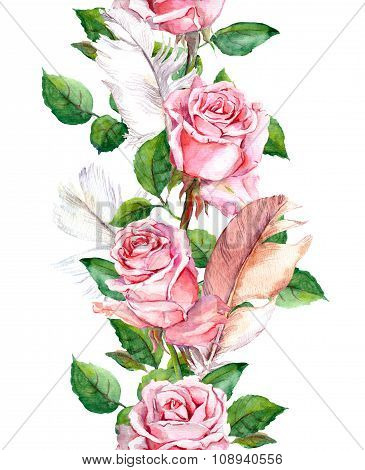 Rose flowers and feathers frame. Seamless repeating floral border. Watercolour