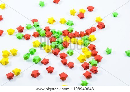 Coloured volumetric paper stars