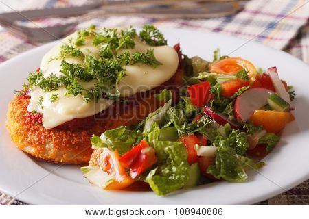 Chicken Parmigiana And Fresh Vegetable Salad Close-up