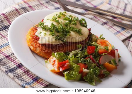 Italian Food: Chicken Parmigiana And Salad Close Up. Horizontal
