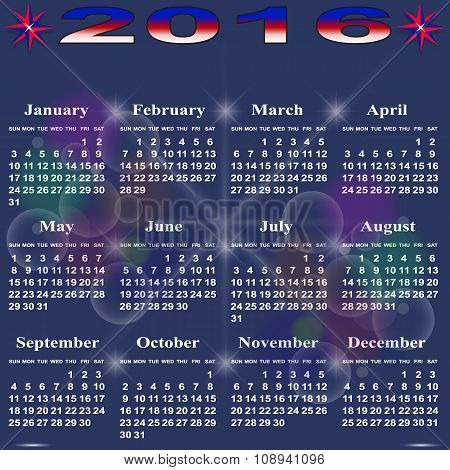 Simple Calendar For 2016.