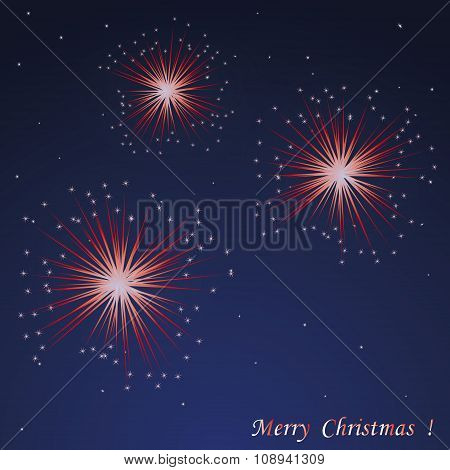 Xmas Postcard With Night Sky And Red Fireworks